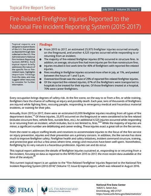 Fire-Related Firefighter Injuries Reported to the National Fire Incident Reporting System (2015-2017)