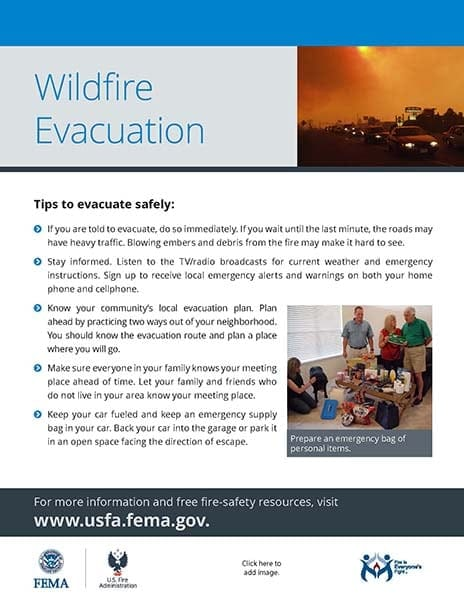 wildfire evacuation safety handout