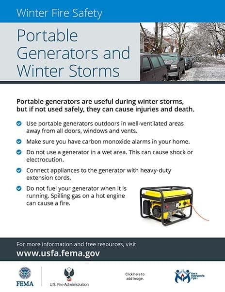 portable generator safety handout
