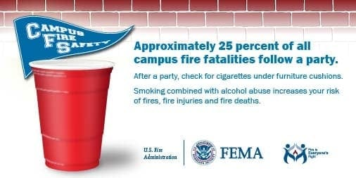 campus fire safety social card