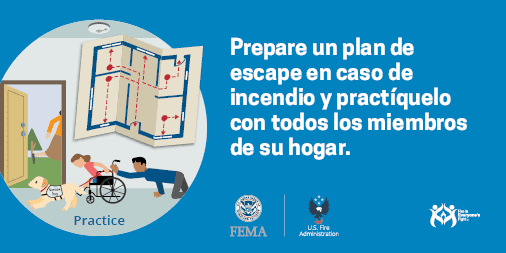 practice a fire escape plan with everyone in your home Spanish