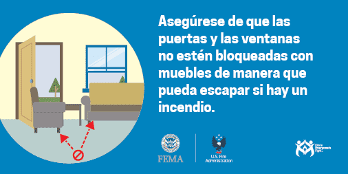 make sure doors and windows aren't blocked by furniture spanish