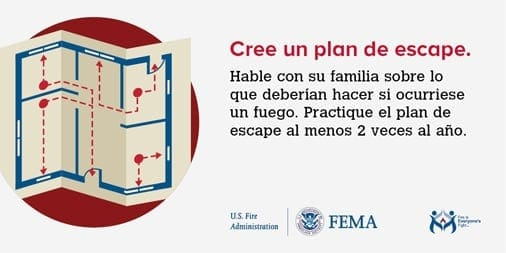 make a fire escape plan Spanish