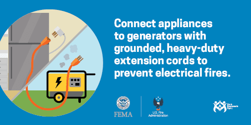 social media card: connect appliances to generators with grounded cords to prevent electrical fires