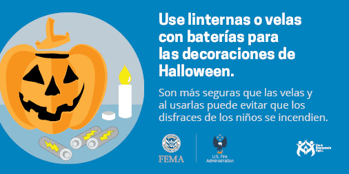 use flashlights or battery-operated candles for Halloween decorations - Spanish