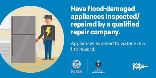 social media card: inspect flooded appliances