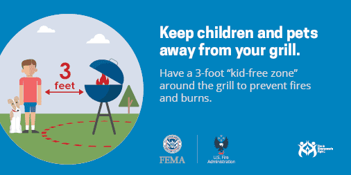 keep children and pets away from your grill