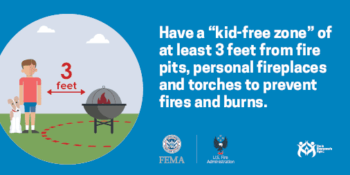 keep children 3 feet away from fire pits