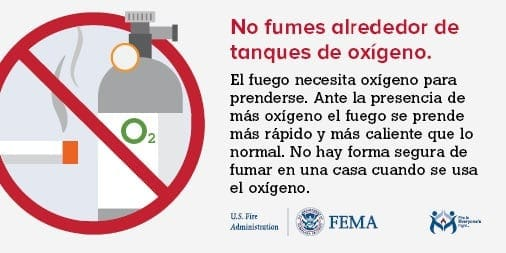 don't smoke around medical oxygen Spanish